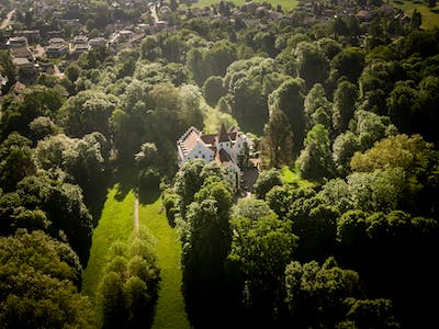 Aerial view castle and park west