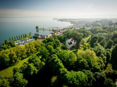 Photographie aérienne du château et du parc
